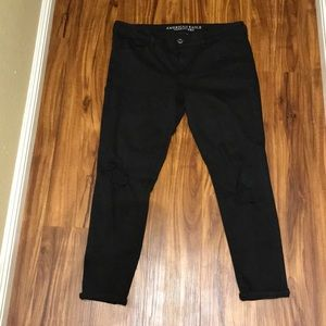 Size 14 black distressed American Eagle Jeggings